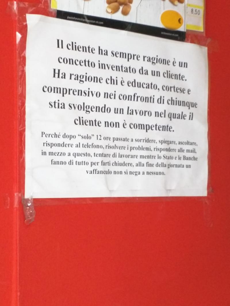 Na italia o cliente não tem sempre razão