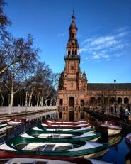 Plaza de Espana Sevilha barquinhos