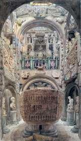 ilustração da época mostrando o sarcofago de Seti museu sir John Soane
