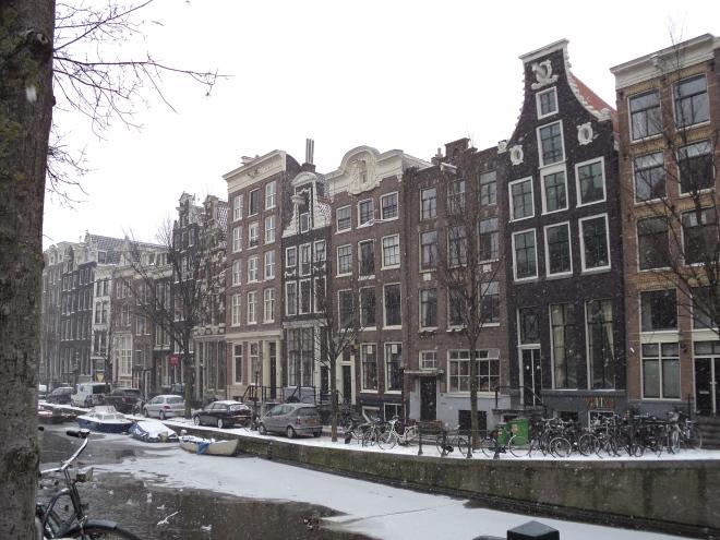 Amsterdam Bairro da Luz Vermelha Neve caindo