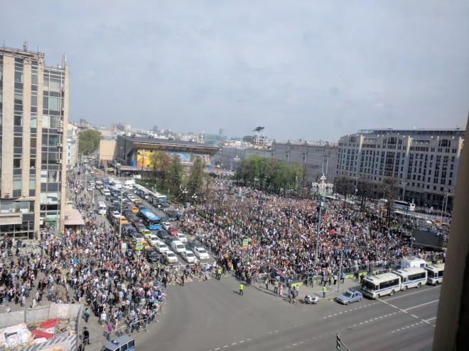 Protesto anti-Putin em Moscou de cima