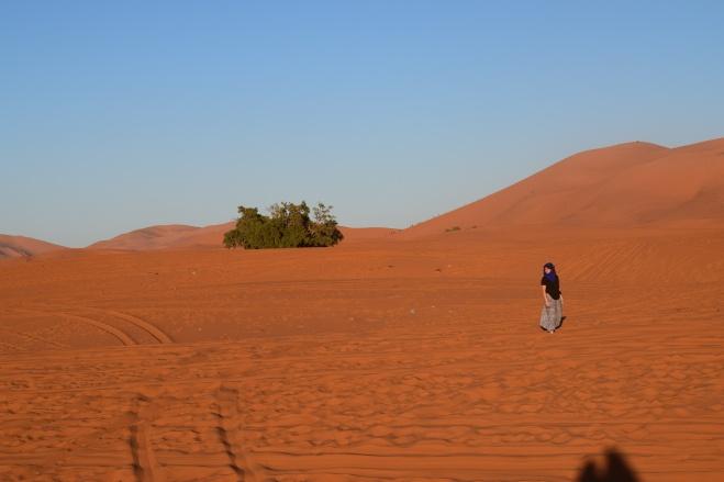 Saara Marrocos andando nas dunas